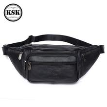 Men Waist Pack Genuine Leather Bag Waist Belt Bag Leather Fanny Pack F