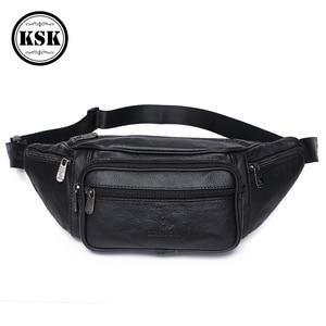 Image 1 - Men Waist Pack Genuine Leather Bag Waist Belt Bag Leather Fanny Pack For Men 2019 Fashion Luxury Male Small Shoulder Bags KSK