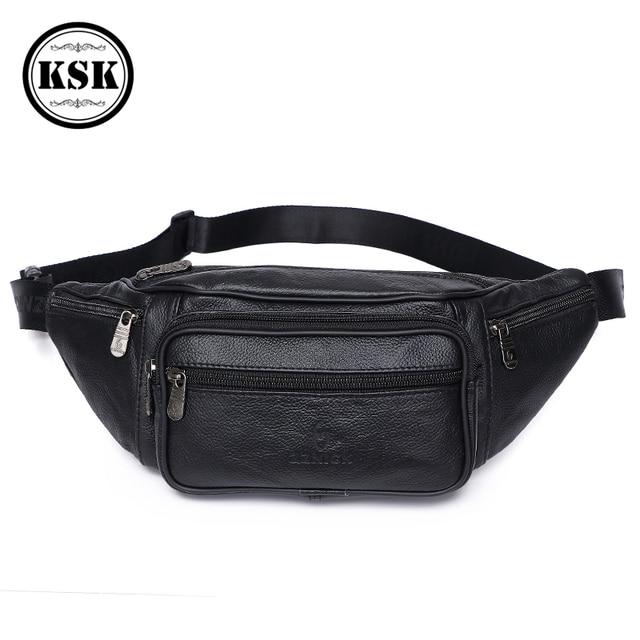 Men Waist Pack Genuine Leather Bag Waist Belt Bag Leather Fanny Pack For Men 2019 Fashion Luxury Male Small Shoulder Bags KSK
