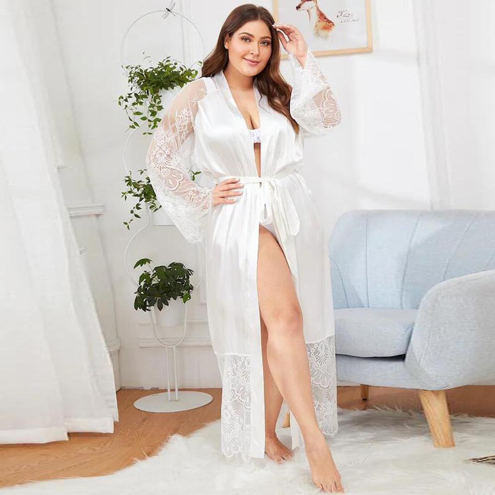 Women Sexy Satin Kimono Robe Bathrobe Lingerie Sleepwear Female Belt Simulation Silk Lace Long Sleeve Dressing Gown Vestaglia