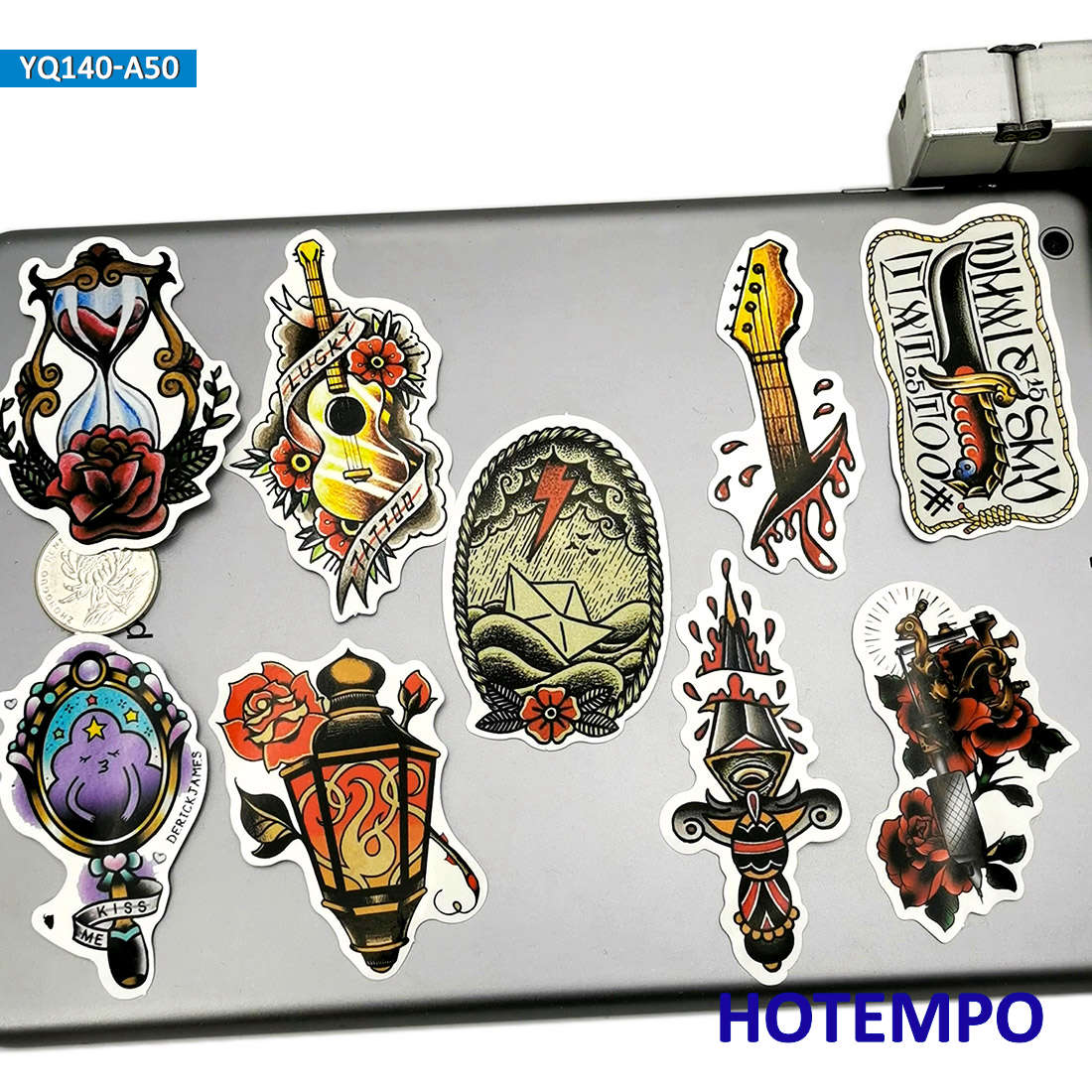 50pcs Old School Style Painting Graffiti Retro Fashion Tattoo Mix Art Skool Stickers for DIY Mobile Phone Laptop Luggage Sticker