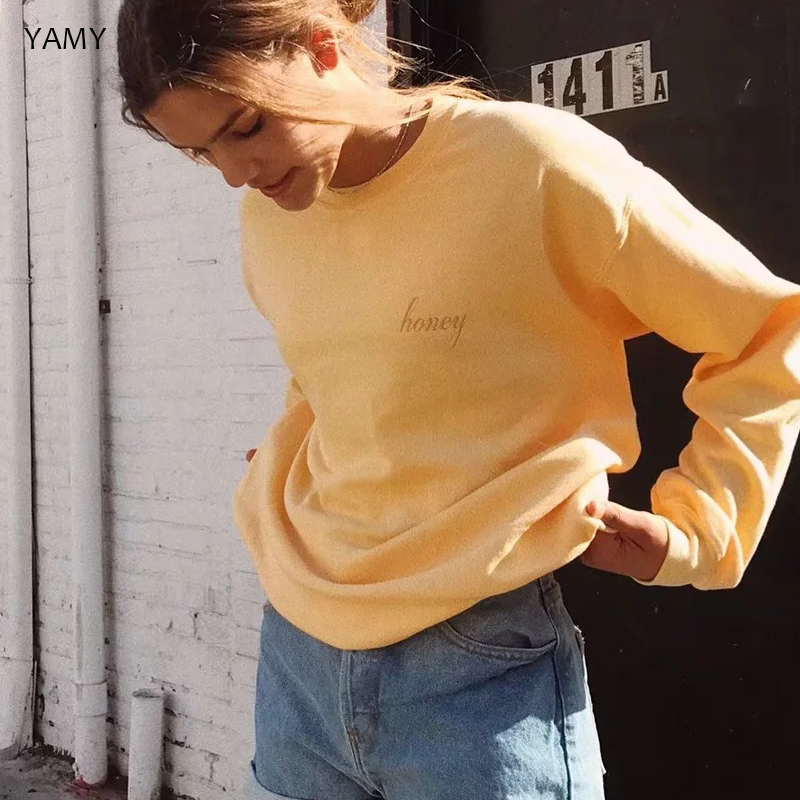 Fall 2019 Womens Sweatshirt Long Sleeved Honey Embroidered Yellow Pullover Vintage Cotton Loose Hoodies Winter Streetwear Femme