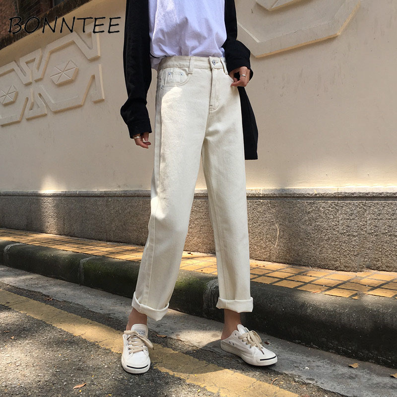 Jeans Women Loose High Waist Zipper Pockets Korean Style Thin Retro Harajuku All-match Female Jean Student Chic Females Trousers