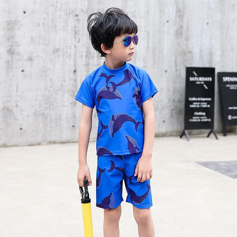 Boxers Split Type Swimsuit For Boys CHILDREN'S Suit Send Swimming Cap Children Split Type Two Piece Set Korean-style Sports Shor