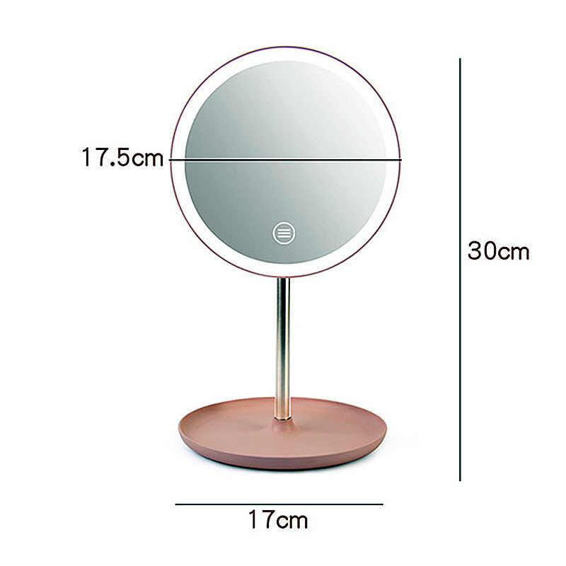 Зеркало для макияжа Led настольная перезаряжаемая светодиодная Сенсорная панель зеркало для макияжа небольшое зеркальце для макияжа портативное
