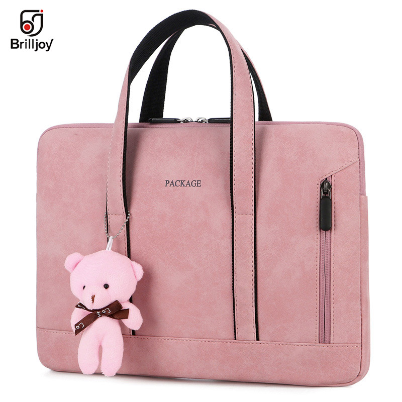 Brilljoy Handbag PU Waterproof Scratch-resistant Laptop Briefcase 13 14 15 Inch Notebook Shoulder Bag Carry Case Women And Men