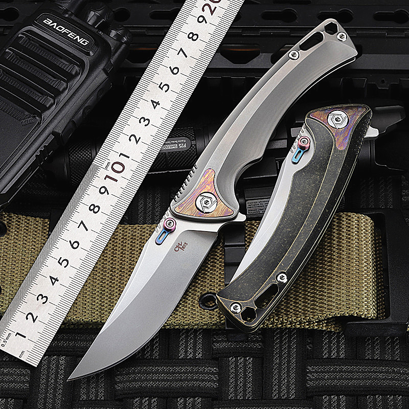 2020 New Free Shipping High Quality S35VN Powder Steel Outdoor Folding <font><b>Knife</b></font> Titanium alloy TC4 Survival Camping Hunting <font><b>Knives</b></font> image