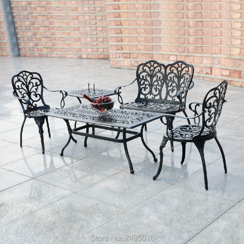 4-Piece Patio Set with Cast-Top Coffee Table Outdoor Furniture, cast aluminum Bronze color ,for garden ,balcony, poolside