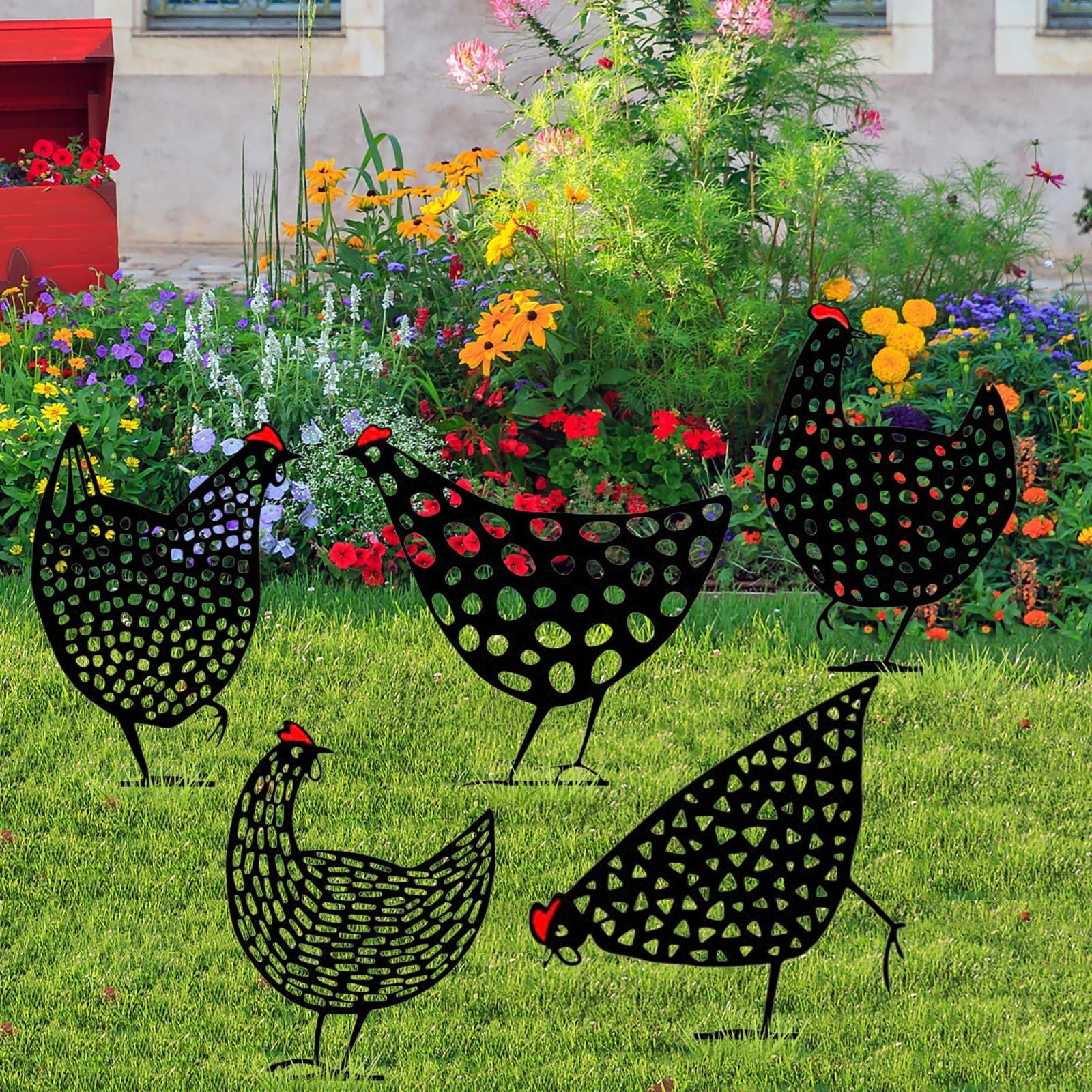 4 # искусство для куриного двора, наружные садовые статуи для заднего двора, ставки для газона, металлические декоративные куриные дворы, под...