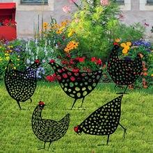 4 # galinha quintal arte ao ar livre estátuas do jardim quintal gramado estacas de metal galinha quintal decoração presente jardim estátuas decoração ornamento