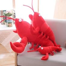 30-80cm Red Lobster Stuffed Plush Toy Big Doll Simulation Animals Lifelike Crayfish Shrimp Dolls Good Quality