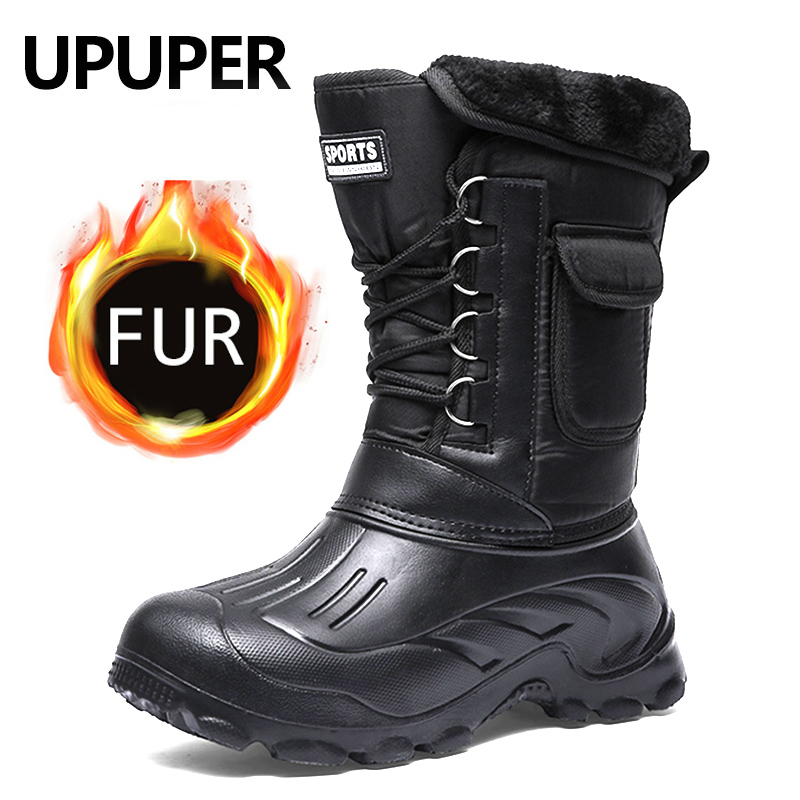 UPUPER New Winter Boots Men Waterproof Snow Rain Shoes With Fur Plush Warm Winter Men Shoes Male Casual Work Fishing Boot 2019