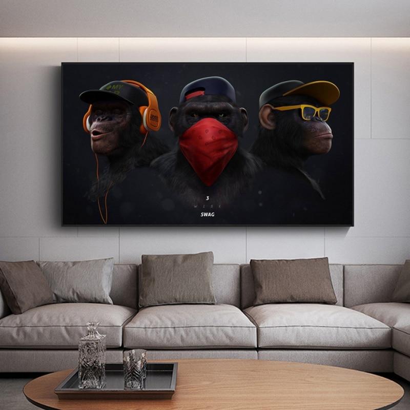 Pôster de parede com fone de ouvido, imagens de parede para decoração de casa e sala de estar|Pintura e Caligrafia|   - AliExpress