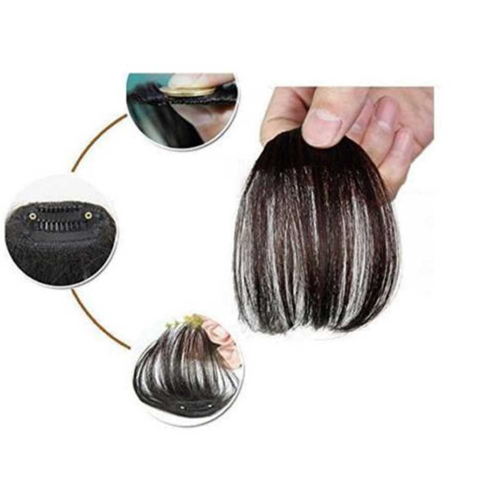 Yeni moda doğal siyah kahverengi temiz ön klip saç patlama saç eki sentetik saç sahte saçak saç parçaları