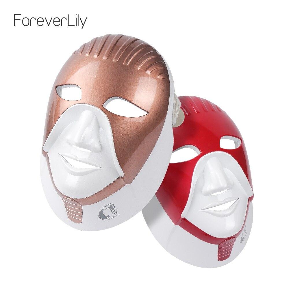 Foreverlily recarregável 7 cores led máscara para cuidados com a pele led máscara facial com pescoço estilo egito fóton terapia rosto beleza