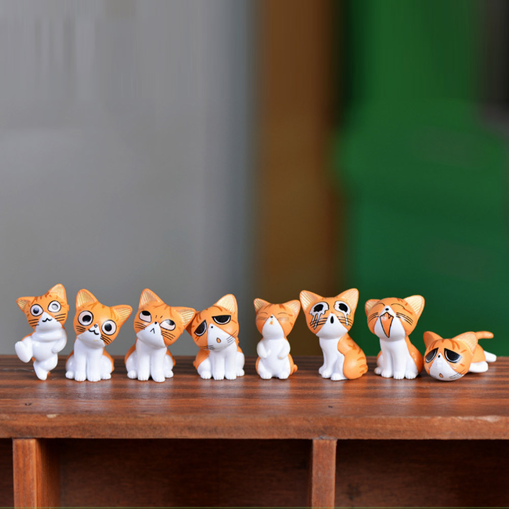 1 pc Cheese Cat Miniature Figurines Toys Cute Lovely Model Kids PVC figure world Action Toy Figures Style-random image