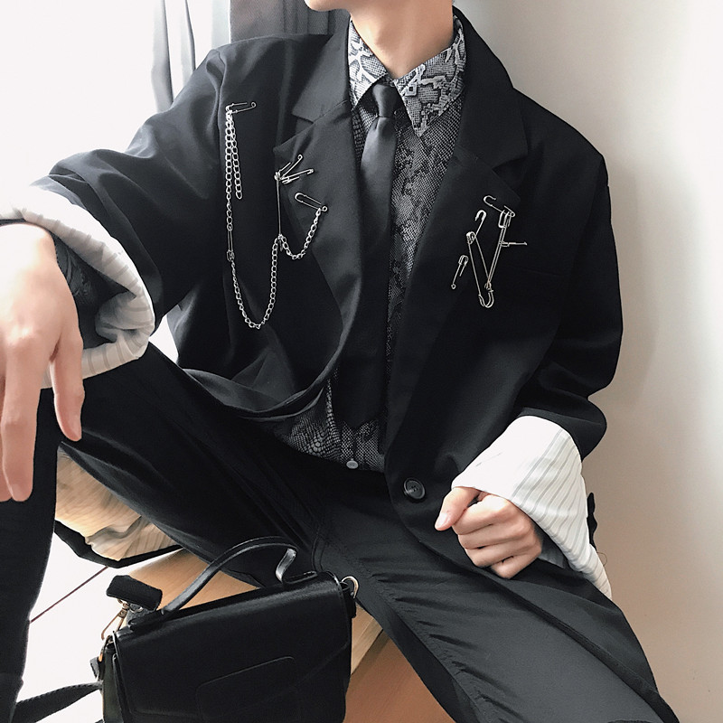 Men Pin Metal Chain Streetwear Hip Hop Punk Gothic Loose Black Blazer Coat Male Casual Suit Jacket Outerwear