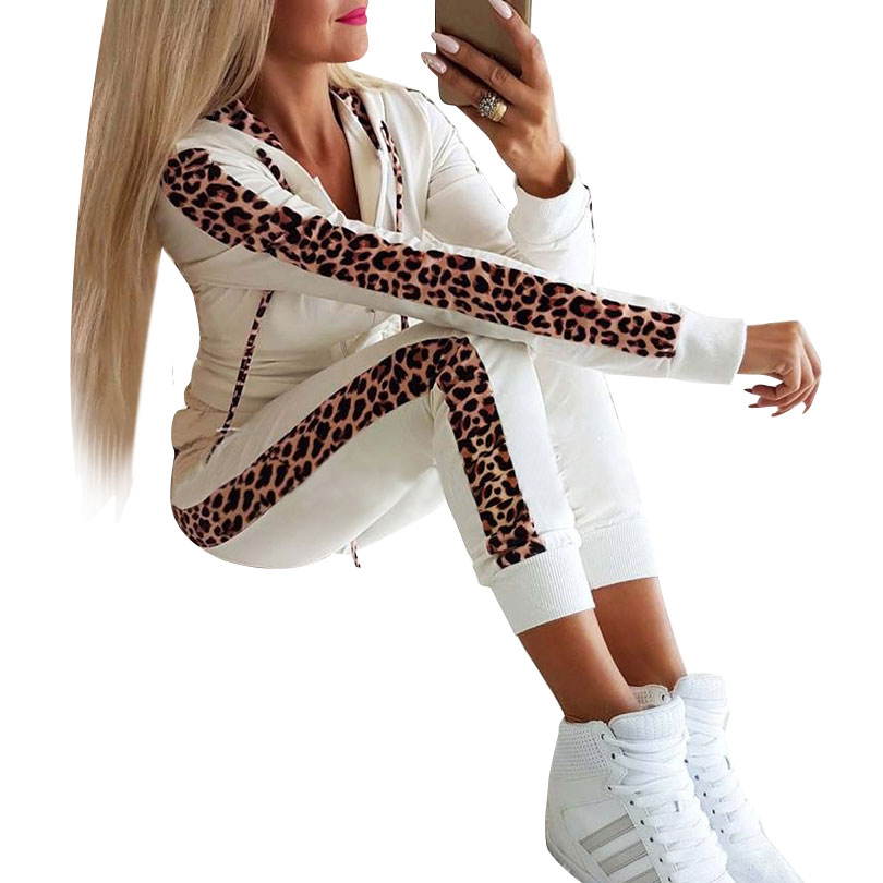 MVGIRLRU Women Cotton 2 Pieces Sets Leopard Spliced Zippers Hooded Sweatshirt Long Pants Women Tracksuits Hoodies Outfiits