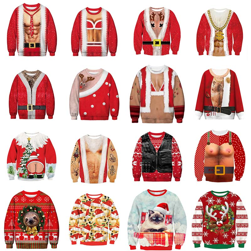 3D Fashion Sweater Snowman Deer NEW Santa Claus Xmas Patterned Ugly Christmas Sweaters Tops For Funny Men Women Unisex Pullovers