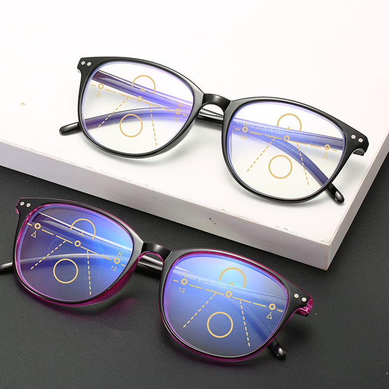 Imwete Anti-blue Light Reading Glasses Women Retro Progressive Multifocal Eyeglasses Men Near And Far Presbyopic Spectacles
