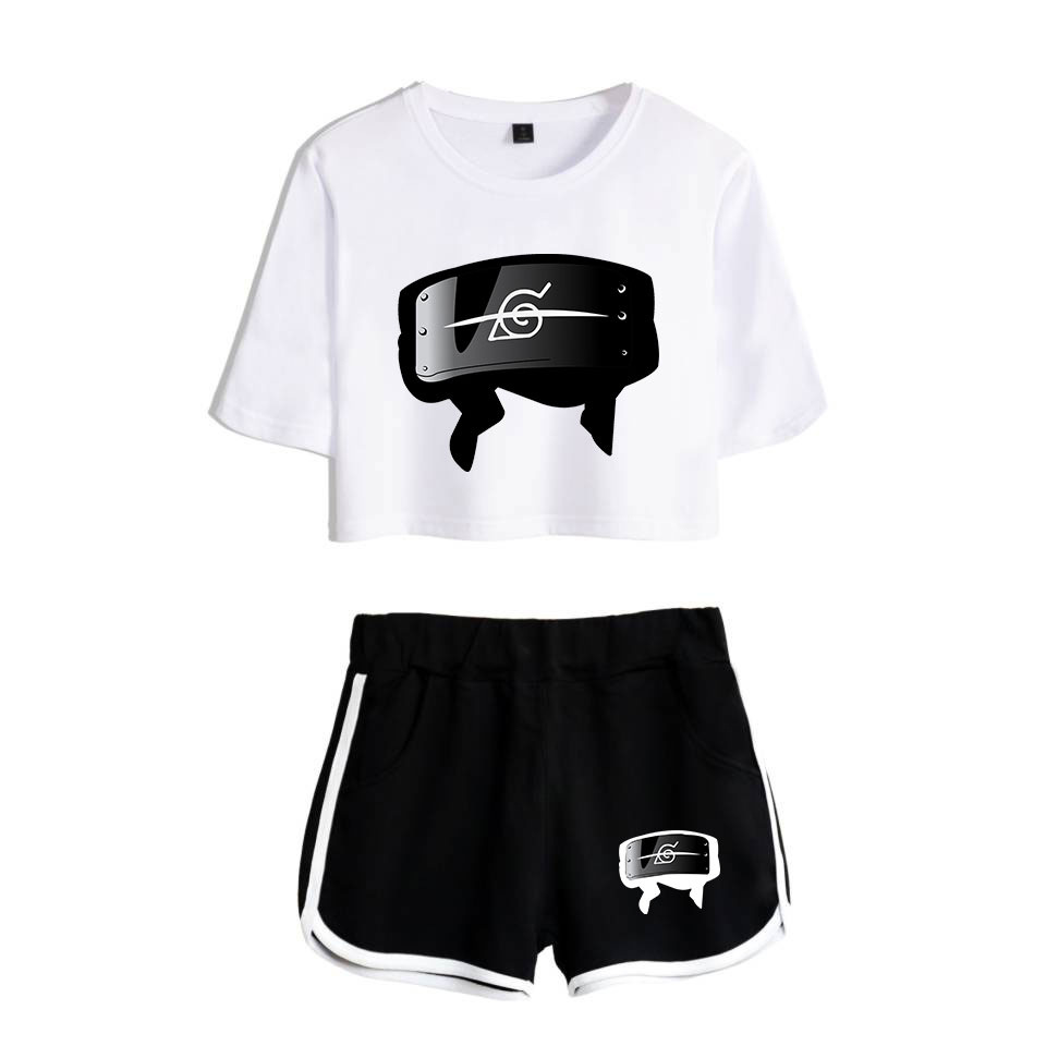 Summer Naruto Headband  T Shirt Shorts  Boruto  Uzumaki Uchiha Sasuke Akatsuk  Summer   Clothing Women Girls Running shorts kit