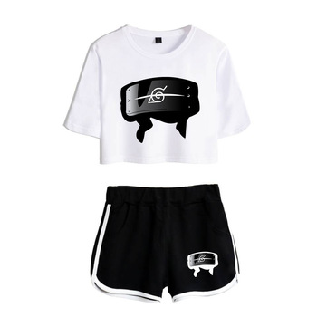Summer Naruto Headband  T Shirt Shorts Boruto Uzumaki Uchiha Sasuke Akatsuk Clothing Women Girls Running shorts kit - sale item Costumes & Accessories