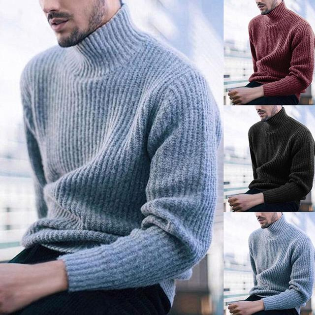Men Sweaters Solid Color Turtleneck Sweater Men Long Sleeve Knitted Pullover Men Sweaters Mens Clothes Pull Homme Ropa Hombre