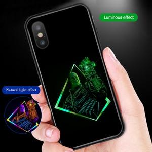 Image 4 - Ciciber Marvel Leuchtenden Glas Fall für iPhone 11 fall 7 8 6 6S Plus shell Abdeckung für iPhone 11 pro Max XR X XS Max Coque Eisen Mann