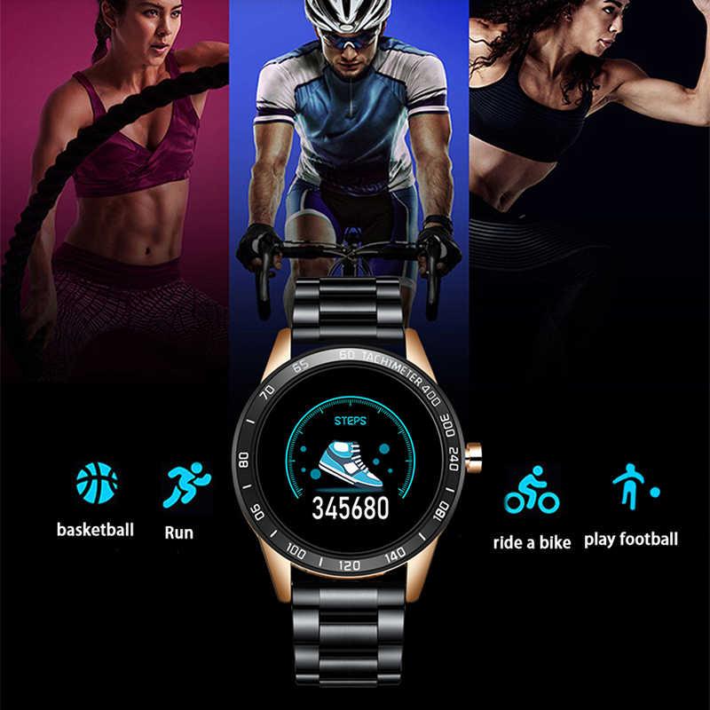 LIGE New Smart Watch Men Pedometer Heart Rate Blood Pressure Monitor Waterproof Steel Belt Smartwatch Sport Multifunction Mode