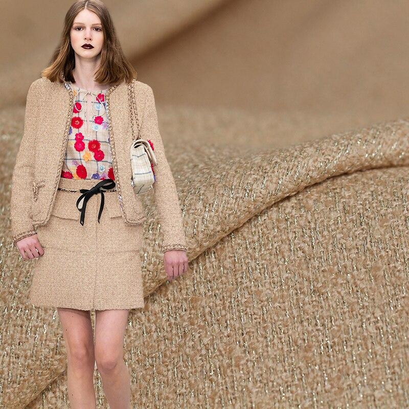 Rouge framboise Camel Fil-Lumiere Tweed laine tissus vêtement matériaux automne femmes veste couture tissu tailleur livraison gratuite