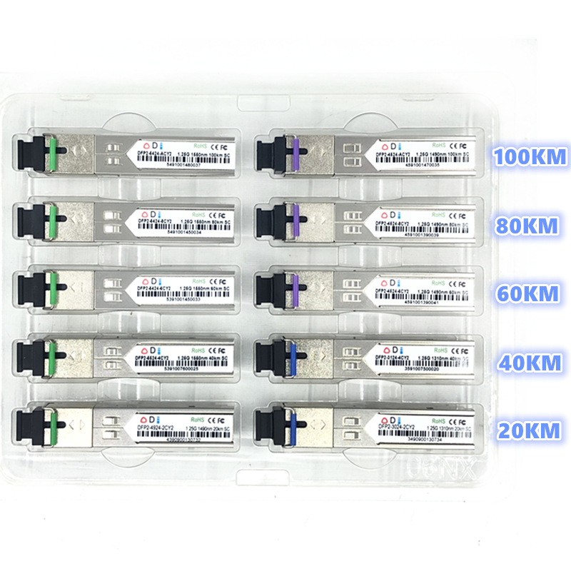 SC SFP Fiber Optic Module 1.25G SC 20/40/60/80/100KM 1310/1490/1550nm Single Fiber SFP Optical Module Compatible Code  ONU OLT