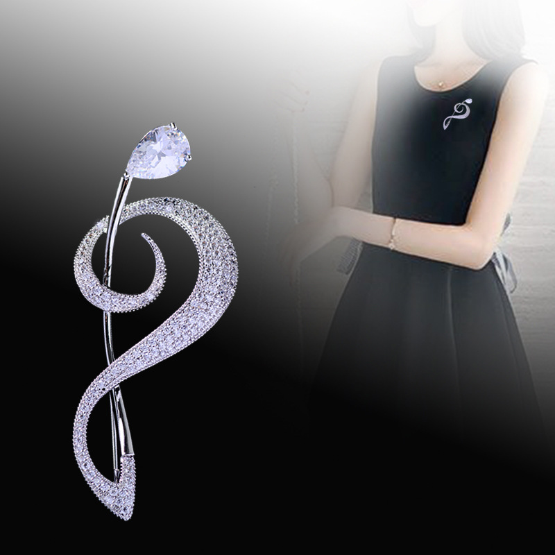 Bad Guy Zircon Brooches for Women's Brooch Pin Accessories for Clothes Decoration Brooch Pins Metal Note Broche Kpop Pins-4