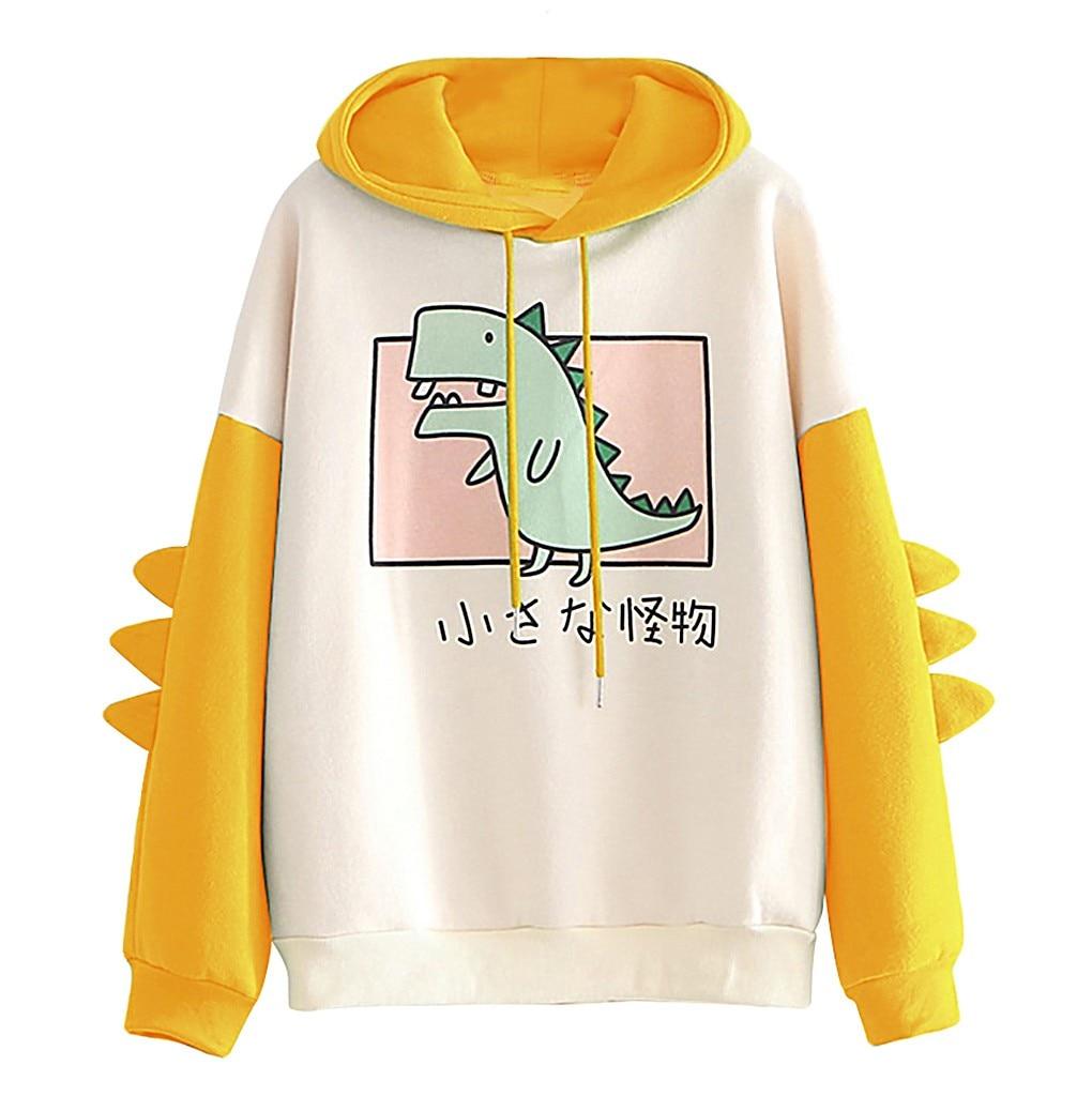 Fashion Women Sweatshirt Casual Print Long Sleeve Splice Dinosaur hoodies Sweatshirt Tops ropa mujer