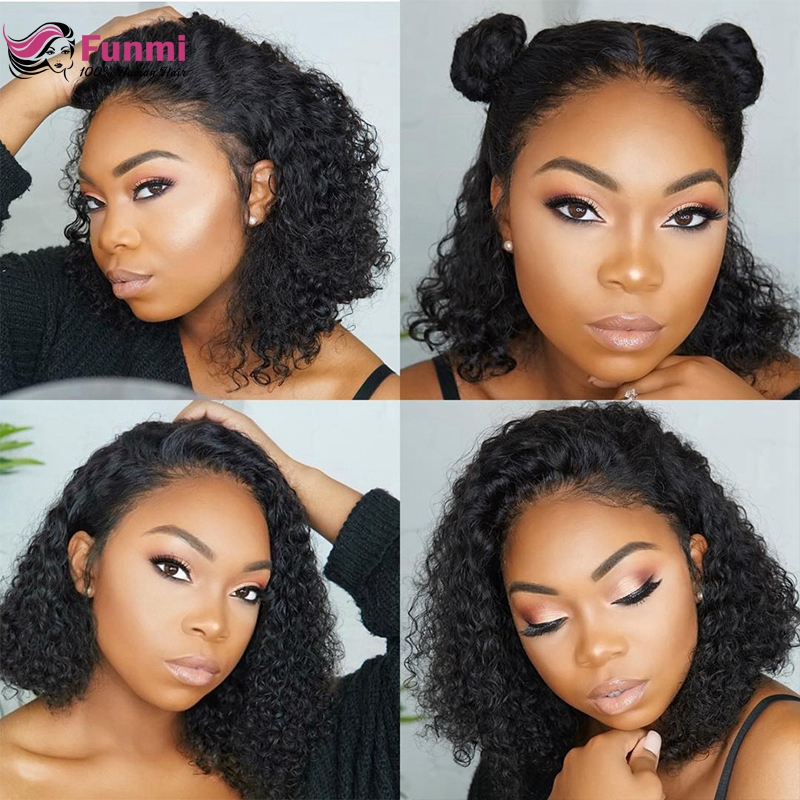 Funmi Brazilian Curly Lace Front Human Hair Wigs Short Bob Wig With Pre Plucked Hairline For Black Women Free Shipping