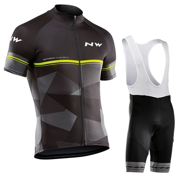 Northwave 2019 Men's Cycling Jersey Summer Short Sleeve Set Maillot Bib Shorts Bicycle Sportswear Shirt NW Suit