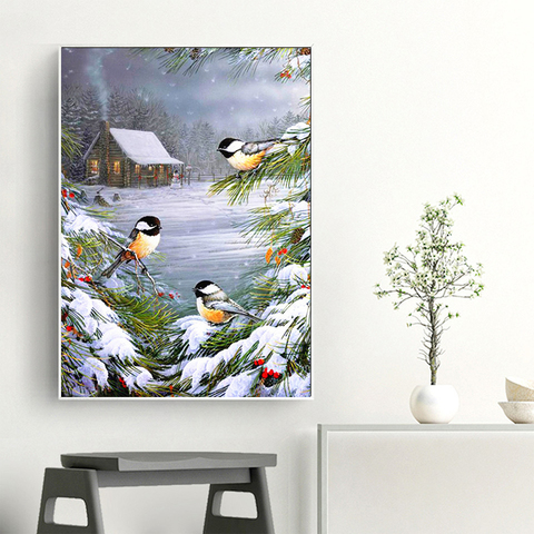 AZQSD Diamond Painting Winter Birds Cross Stitch Wall Art Needlework Picture Of Rhinestones Gift Handmade Home Decoration Karachi