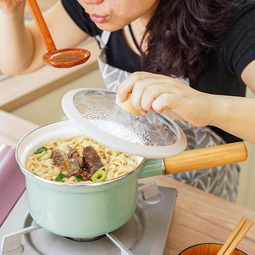 18cm Enamel Non-Stick Soup Noodles Pot With Lid