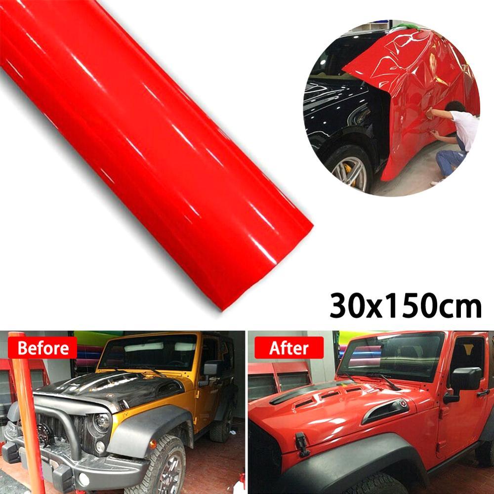 30*152 см модификация автомобиля Супер Глянцевая красная виниловая пленка, оберточная наклейка, фольга для украшения, запасные части, оптовая ...