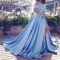 Элегантный вечерний светильник синего цвета, вечерние платья 2020, атласные платья с открытыми плечами для выпускного вечера, женские сексуа...