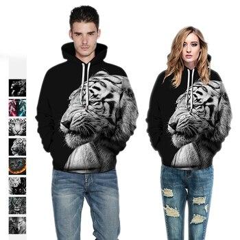 2019 Winter Women/Mens Sport Hoodies Tiger 3D Print Tops  Loose Sweatshirts Long Sleeve Running Pullover Hooded