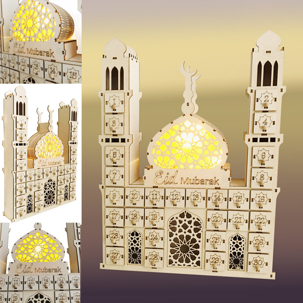 Date Battery Operated Desktop Crafts Office Home Decor Countdown Muslim DIY Palace Led Gift EIDMUBARAK RAMADAN Wooden Calendar