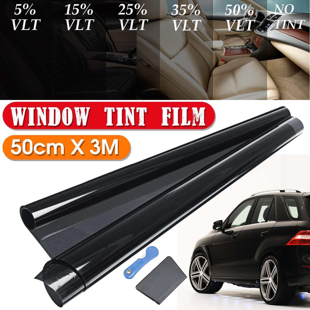 Черная Тонировочная пленка VLT для окон, 300x50 см, 5%-50%, для автомобилей, дома, окон, тонировка, рулон, защита от УФ-лучей, пленка