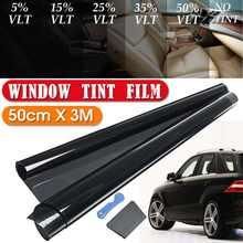 Tinta para janela de carro, tinta preta para janela de carro 300x50cm vlt 5%-50% rolo de película adesiva da proteção uv solar