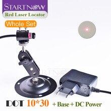 Juego de localizador de puntos con soporte y adaptador de CC, módulo láser rojo, posicionador para marcado láser, alineación de puntos de corte, 10x30