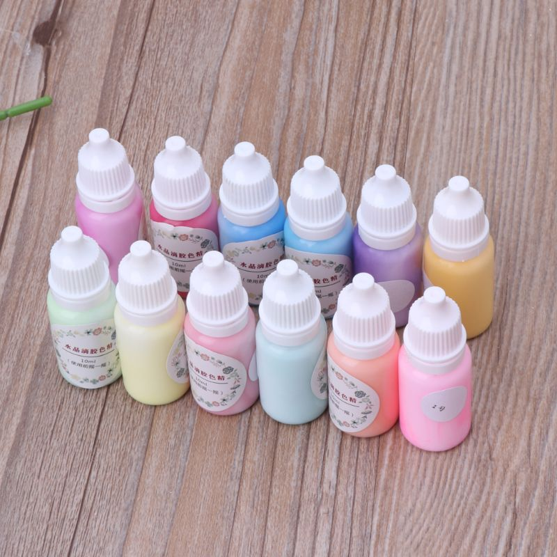 12 Bottles Liquid Macaron Candy Color Resin Pigment Dye Resin Epoxy Jewelry DIY M0XB