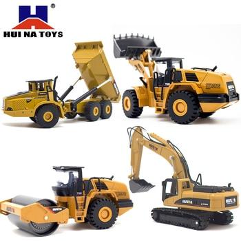 HUINA 150 dump משאית חופר גלגל מטעין Diecast מתכת דגם רכב בניית צעצועי בני יום הולדת מתנה רכב אוסף