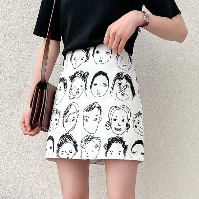 Korean Style Skirts Retro Comic Print High Waist Wild A Line Skirt Fashion Women Bag Hip Mini Skirt 2