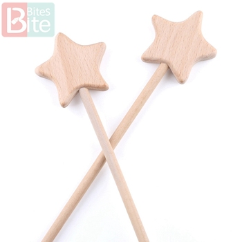 2PCS Beech Wooden Star Toy Custom logo Diy Baby Toys Five-pointed Star Rod Waldorf Rodent Toy Play Gym Wooden Teether Baby Toys