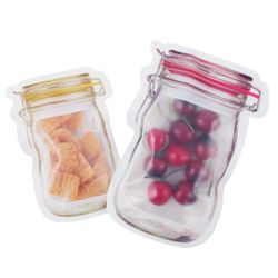5Pcs Mason Jar Seal Bag Bottle Shape Clear Storage Bag Reusability Food Storage Package Small Jewelry Packing