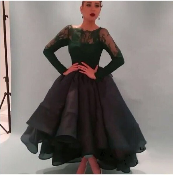 Best Selling Dark Green Lace Long Sleeves Ball Gown Princess Elegant Formal Evening Saudi Arabian Mother Of The Bride Dresses